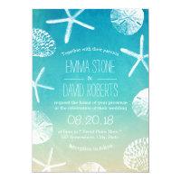 Beach Wedding Watercolor Starfish & Seashells Invitation