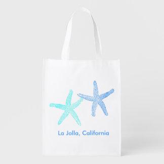 Beach Wedding Welcome Bag (Blue Starfish) Grocery Bag