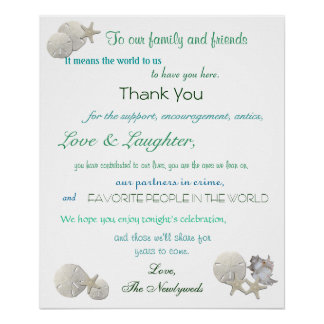 Beach Wedding Welcome Sign, Seashells, Starfish, Poster