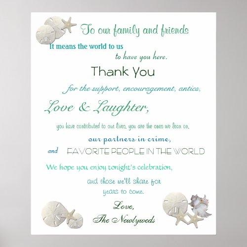 Beach Wedding Welcome Sign Seashells Starfish Poster