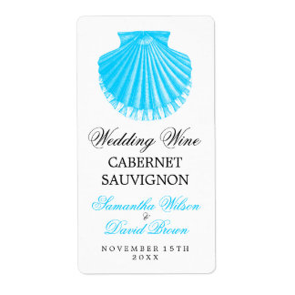 Beach Wedding Wine Label Vintage Scallop Shell Tur Shipping Label
