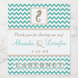 Beach Wedding With Seahorse Customize All Colors Wine Label