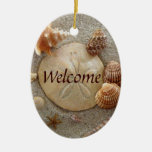 BEACH Welcome Sign Double-Sided Oval Ceramic Christmas Ornament
