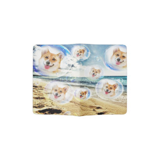 Beach Welsh Corgis Passport Holder