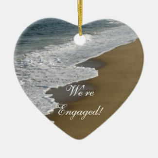 Beach We're Engaged Heart Shaped Ornament