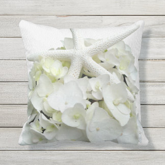 Beach White Hydrangea Starfish Throw Pillow