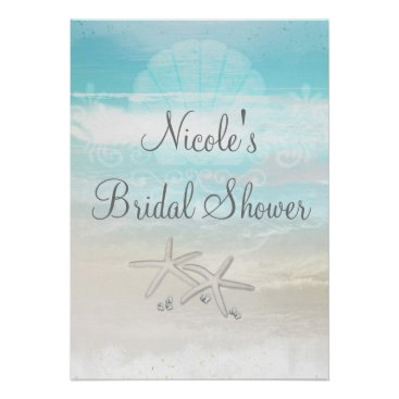 Beach Themed Beach White Starfish Elegant Party Banner Poster