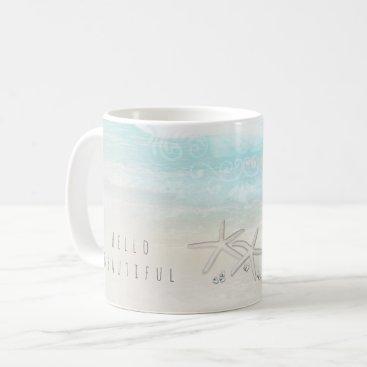 Beach Themed Beach White Starfish Elegant Summer Chic Tropical Coffee Mug