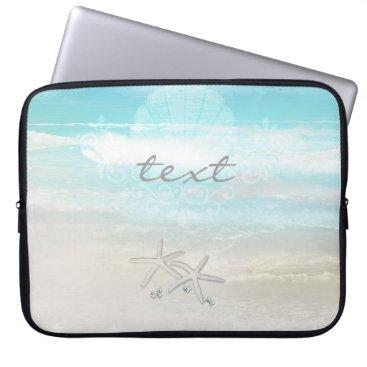 Beach Themed Beach White Starfish Elegant Summer Chic Tropical Laptop Sleeve