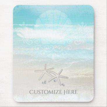 Beach Themed Beach White Starfish Elegant Summer Chic Tropical Mouse Pad