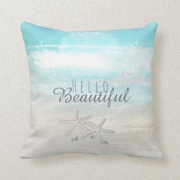 Beach Themed Beach White Starfish Elegant Summer Chic Tropical Throw Pillow