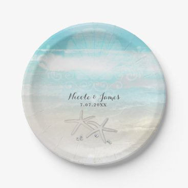 Beach Themed Beach White Starfish Elegant Summer Custom Party Paper Plate