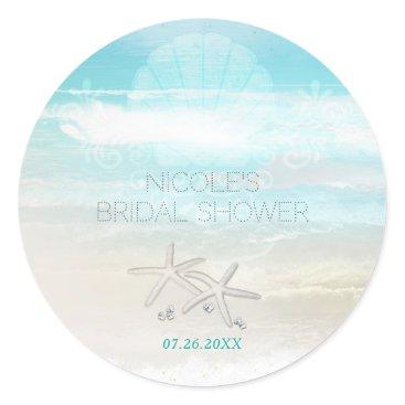 Beach Themed Beach White Starfish Elegant Summer Party Favor Classic Round Sticker