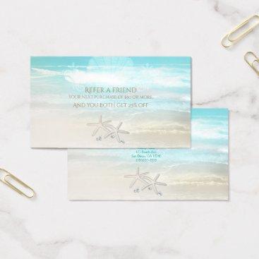 Beach Themed Beach White Starfish Elegant Summer Refer a Friend Business Card