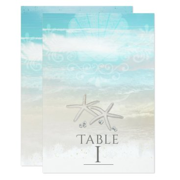 Beach Themed Beach White Starfish Elegant Summer Table Number Card