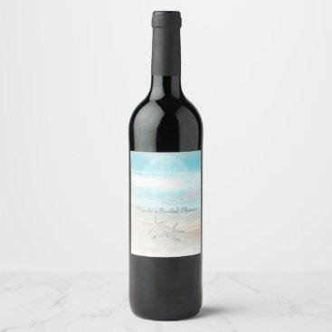 Beach Themed Beach White Starfish Elegant Summer Wine Labels