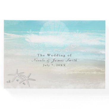 Beach Themed Beach White Starfish Elegant Wedding Tropical Guest Book