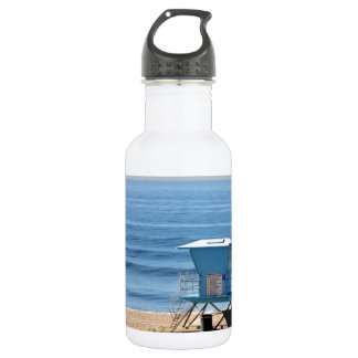 Beach with a Baywatch Cabin 18oz Water Bottle