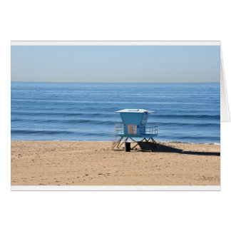 Beach with a Baywatch Cabin Greeting Card