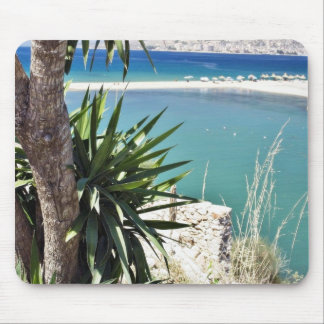Beach With A Palm Tree In Albania In A Hot Summer Mousepad