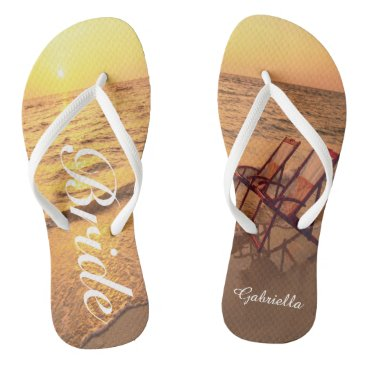 Beach Themed Beach With Chairs In Sand Bride Flip Flops