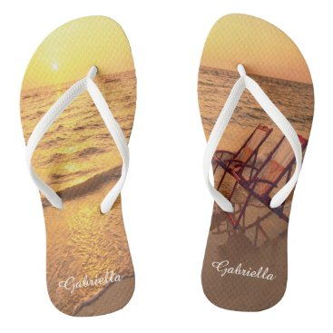 Beach Themed Beach With Chairs In Sand Personalized Flip Flops