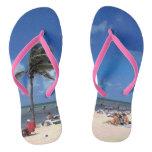 Beach with Coconut Palm Flip Flops