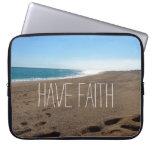 Beach with Faith Quote Computer Sleeve