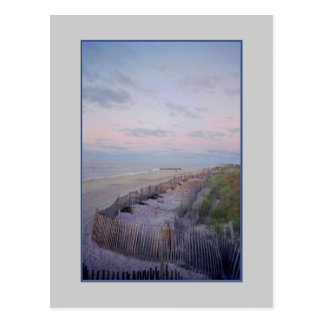 'Beach with Fence and Dunes at Dawn' Postcard