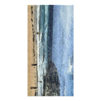 Beach with few people photo card
