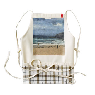 Beach with few people zazzle HEART apron
