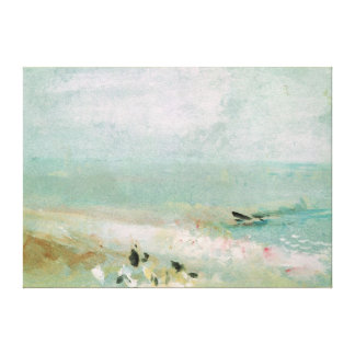 Beach with figures and a jetty c 1830 stretched canvas print