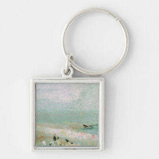 Beach with figures and a jetty. c.1830 keychain