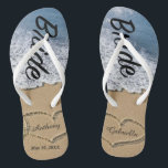 "Beach With Hearts In Sand Bride Wedding Flip Flops<br><div class=""desc"">Love is in the air! Get these great flip flops for yourself or they make a great gift as well. They have the word &quot;Bride&quot; going down them in a script font. There&#39;s a beach scene with hand drawn hearts in the sand. Personalize with your and your husband. Yo0u can...</div>"