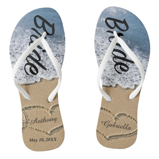 Wedding Flip Flops.Beach With Hearts In Sand Bride Wedding Flip Flops