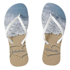 Beach With Hearts In Sand Personalized Flip Flops at Zazzle