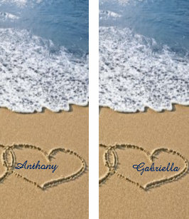 633e4fb56ba Beach With Hearts In Sand Personalized Flip Flops