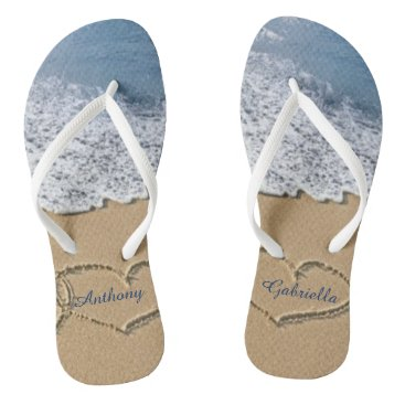 kidsgalore Beach With Hearts In Sand Personalized Flip Flops