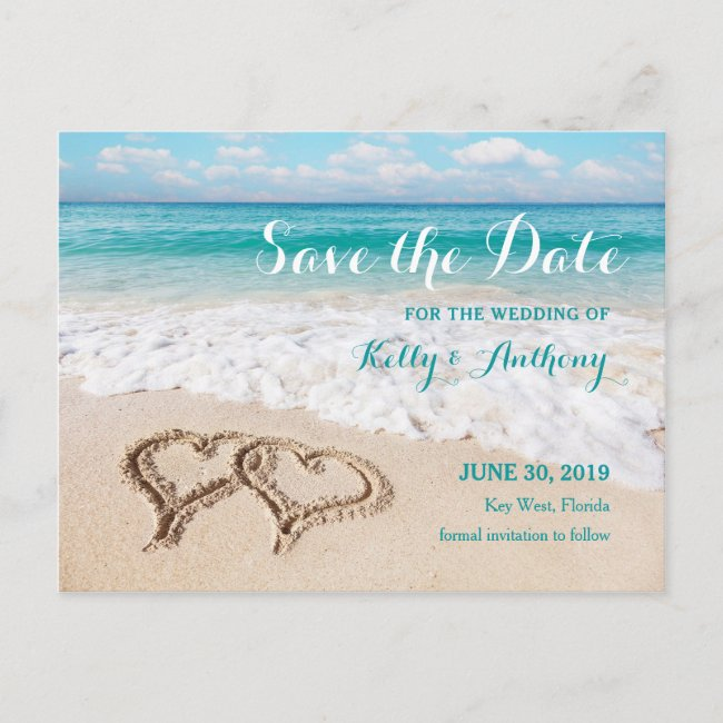 Beach with Hearts on the Sand Save the Date Card