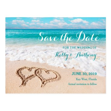 Beach Themed Beach with Hearts on the Sand Save the Date Card