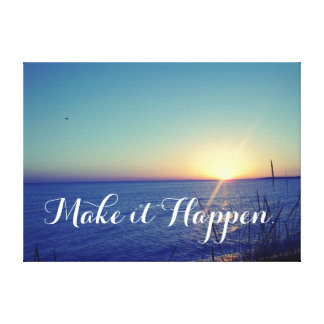 Beach with Inspirational Quote Canvas Print