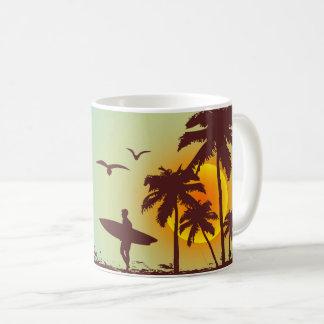 beach with palm surfer in Hawaii Coffee Mug