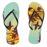 beach with palm surfer in Hawaii Flip Flops