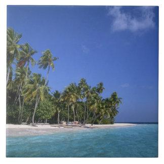 Beach with palm trees, Maldives Ceramic Tile