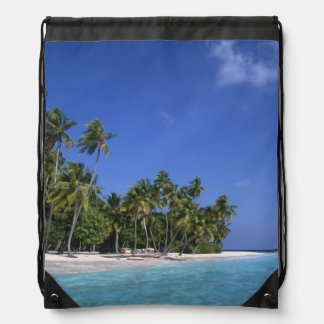 Beach with palm trees, Maldives Drawstring Backpack