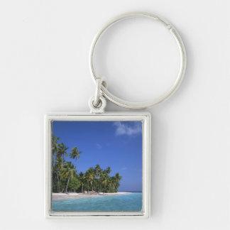 Beach with palm trees, Maldives Keychain