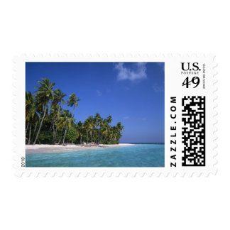 Beach with palm trees, Maldives Postage