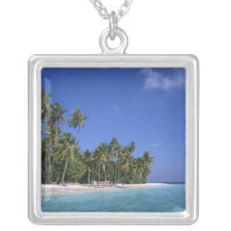 Beach with palm trees, Maldives Silver Plated Necklace