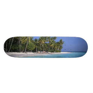 Beach with palm trees, Maldives Skateboard Deck