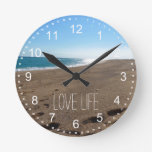Beach with Quote Round Clock